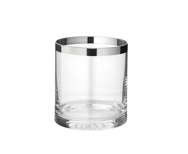 1207 Windlicht Molly, mundgeblasenes Kristallglas mit Platinrand, Höhe 10 cm, Durchmesser 8,5 cm