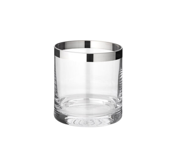 1206 Windlicht Molly, mundgeblasenes Kristallglas mit Platinrand, Höhe 8 cm, Durchmesser 7 cm