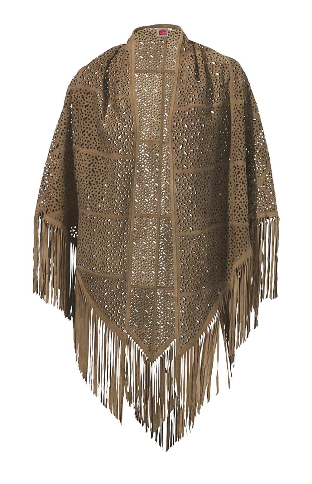 Travel Couture by Heine Poncho Ziegenveloursleder cognac 003.127 Missforty