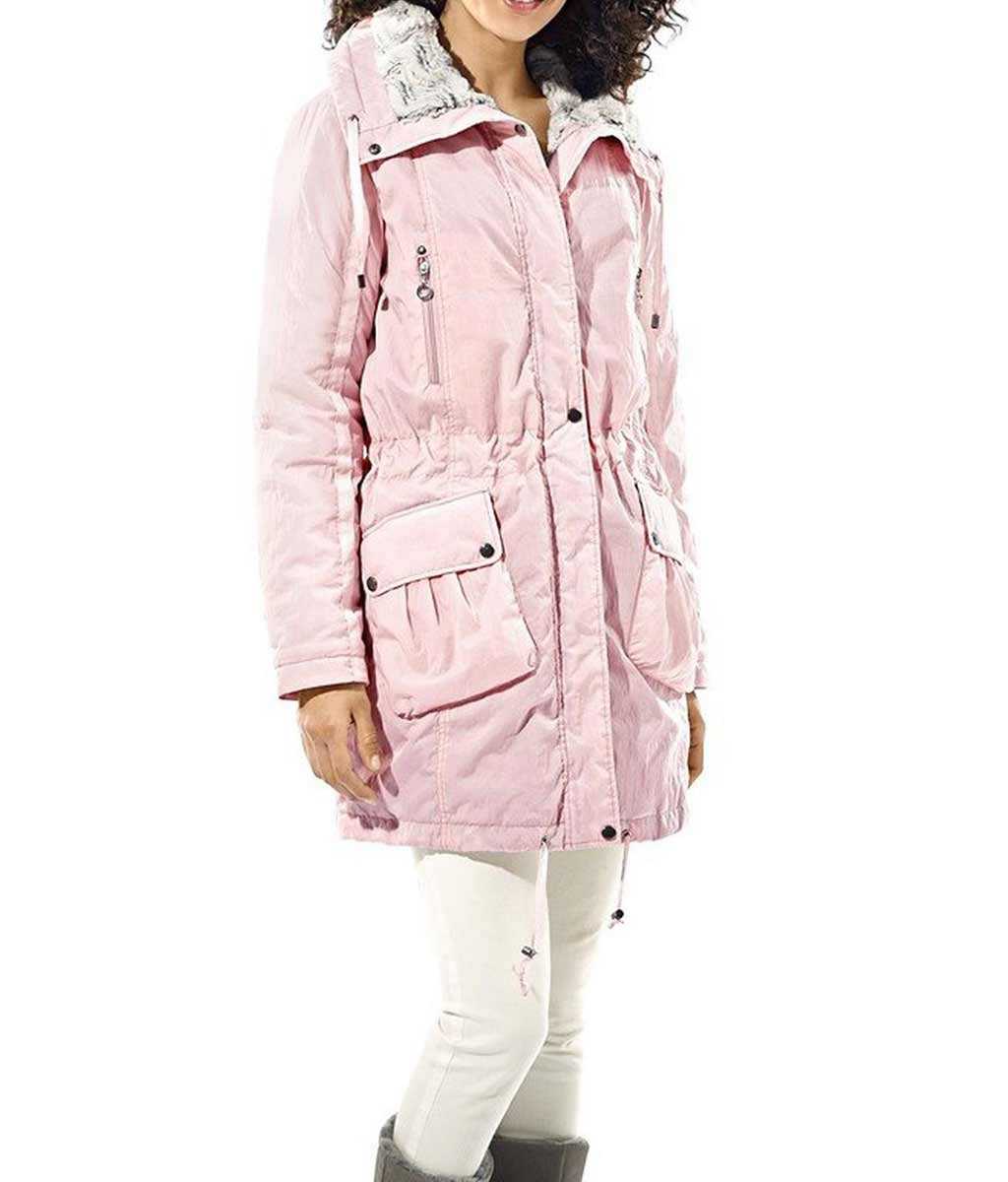 Damenmäntel Frühjahr 2021 HEINE Damen Designer-Parka m. Webpelz Rosé Rosa Freizeit Casual 012.679 Missforty