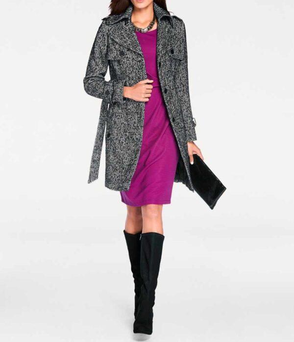 Damenmäntel Frühjahr 2021 Ashley Brooke Damen-Mantel Wintermantel Wolle Wollmantel Schwarz Weiß 058.002 Missforty