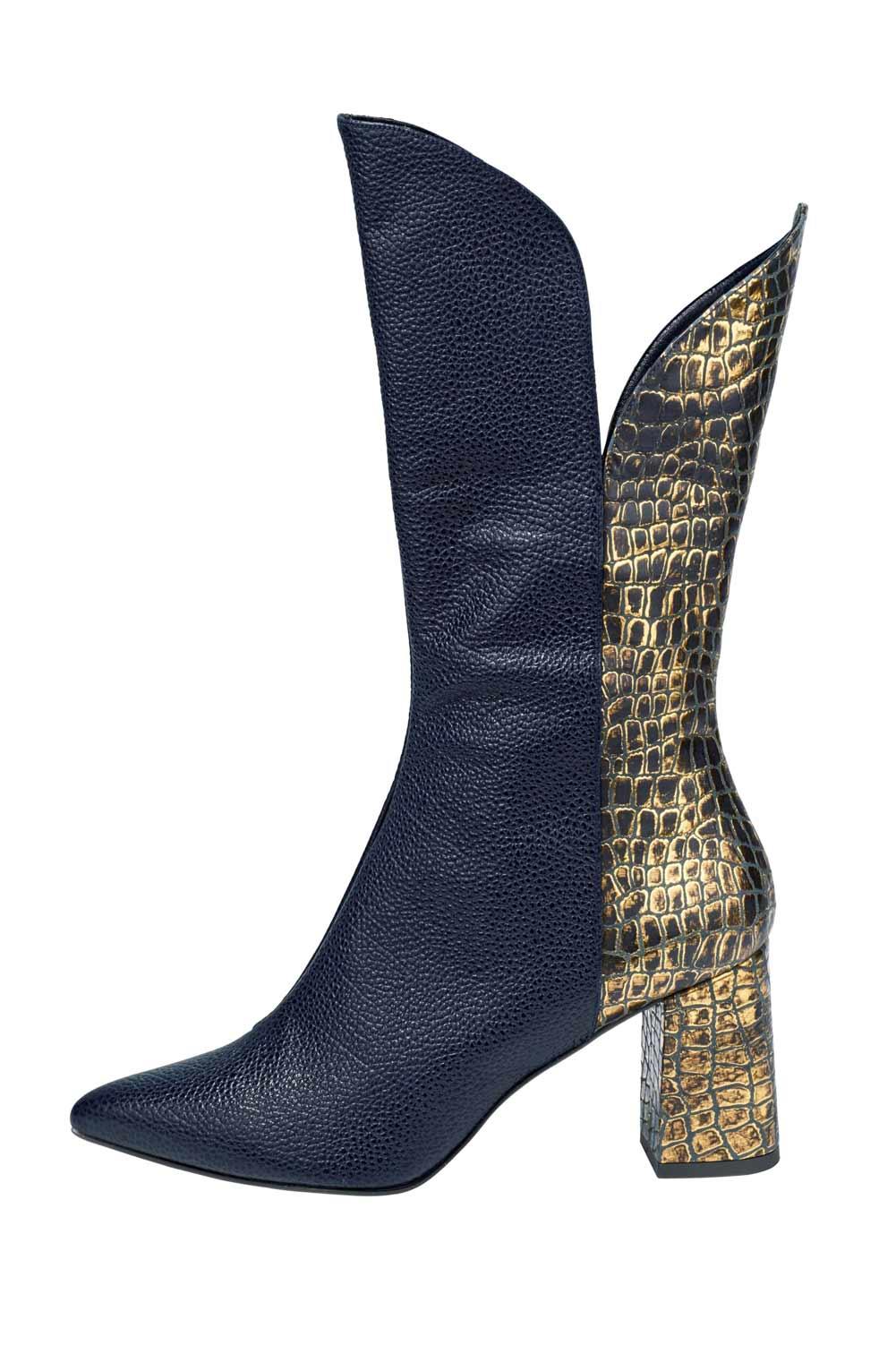 Heine Stiefel aus Leder blau-goldfarben 060.274 Missforty