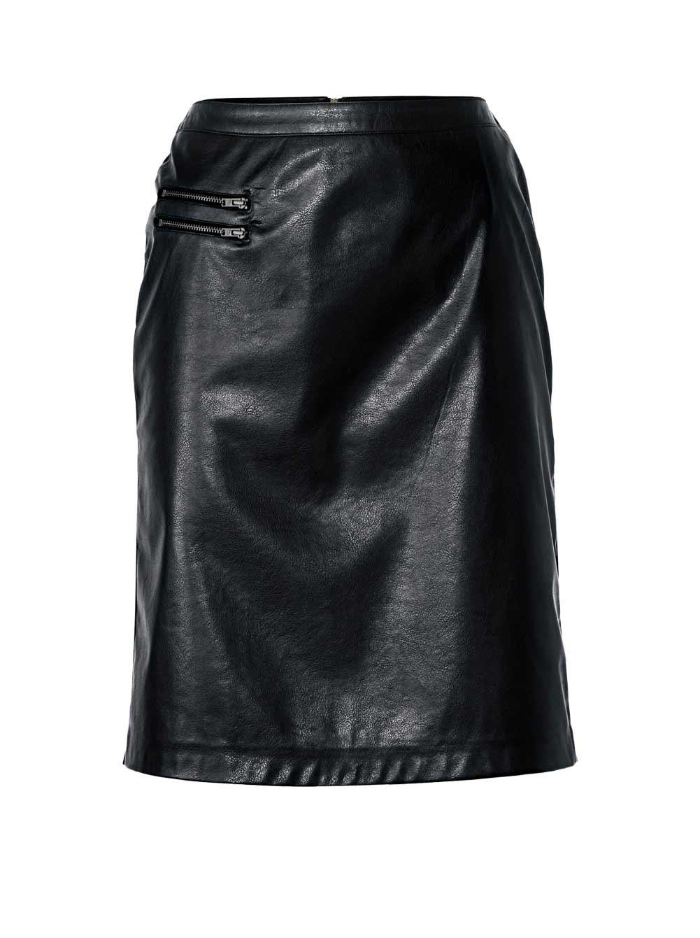 062.987 HEINE Damen Rock Lederimitat Mini Rock, schwarz