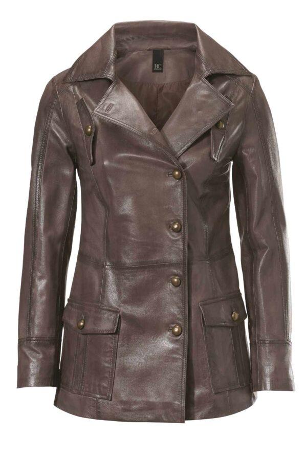 096.725 Heine Damen Lederjacke Vintage Style braun