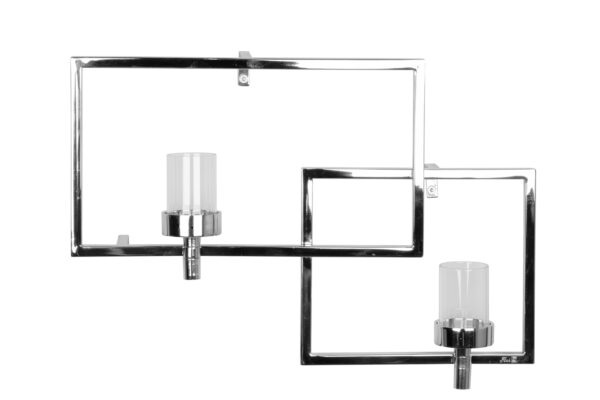 143030 Fink Wanddeko Wanddekoration Wandleuchter silber Glas Teelichthalter ESCALA B42