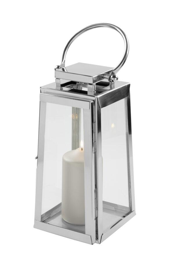 147035 Fink Laterne MONACO Windlicht Glas silber Laterne aus Edelstahl Höhe 34 cm