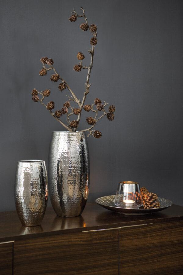 157019 Fink Vase Blumenvase Dekovase silber AFRICA Höhe 28 cm