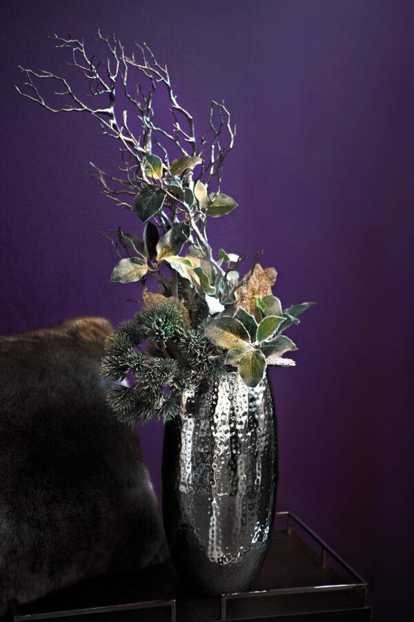 157020 Fink Vase Blumenvase Dekovase silber gehämmert AFRICA Höhe 40 cm