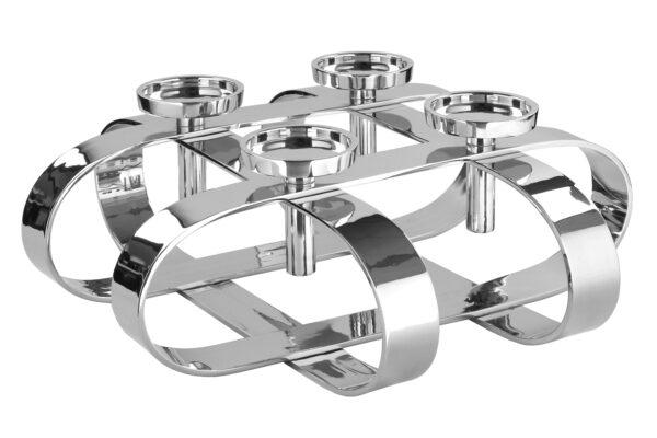 158020 Fink Leuchter GORDEN rund für 4 Stumpenkerzen Kerzenhalter Silber Adventskranz