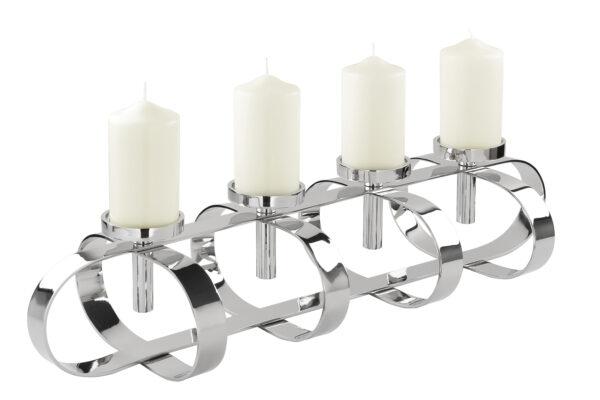 158022 Fink Leuchter GORDEN für 4 Stumpenkerzen Kerzenhalter Silber Adventskranz