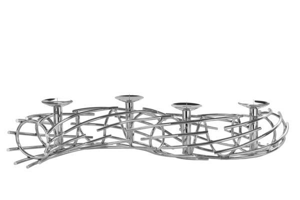 158192 Fink Kerzenleuchter CORONA für 4 Stumpenkerzen silber Adventskranz Edelstahl