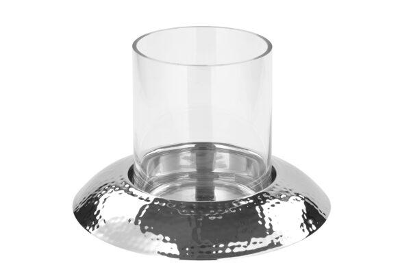 159045 Fink Windlicht Glas NAPA Kerzenhalter silber für 1 Stumpenkerze Höhe 24 cm