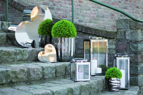 159588 Fink Laterne SEVILLA aus Edelstahl silber Windlicht Höhe 43 cm Indoor/Outdoor