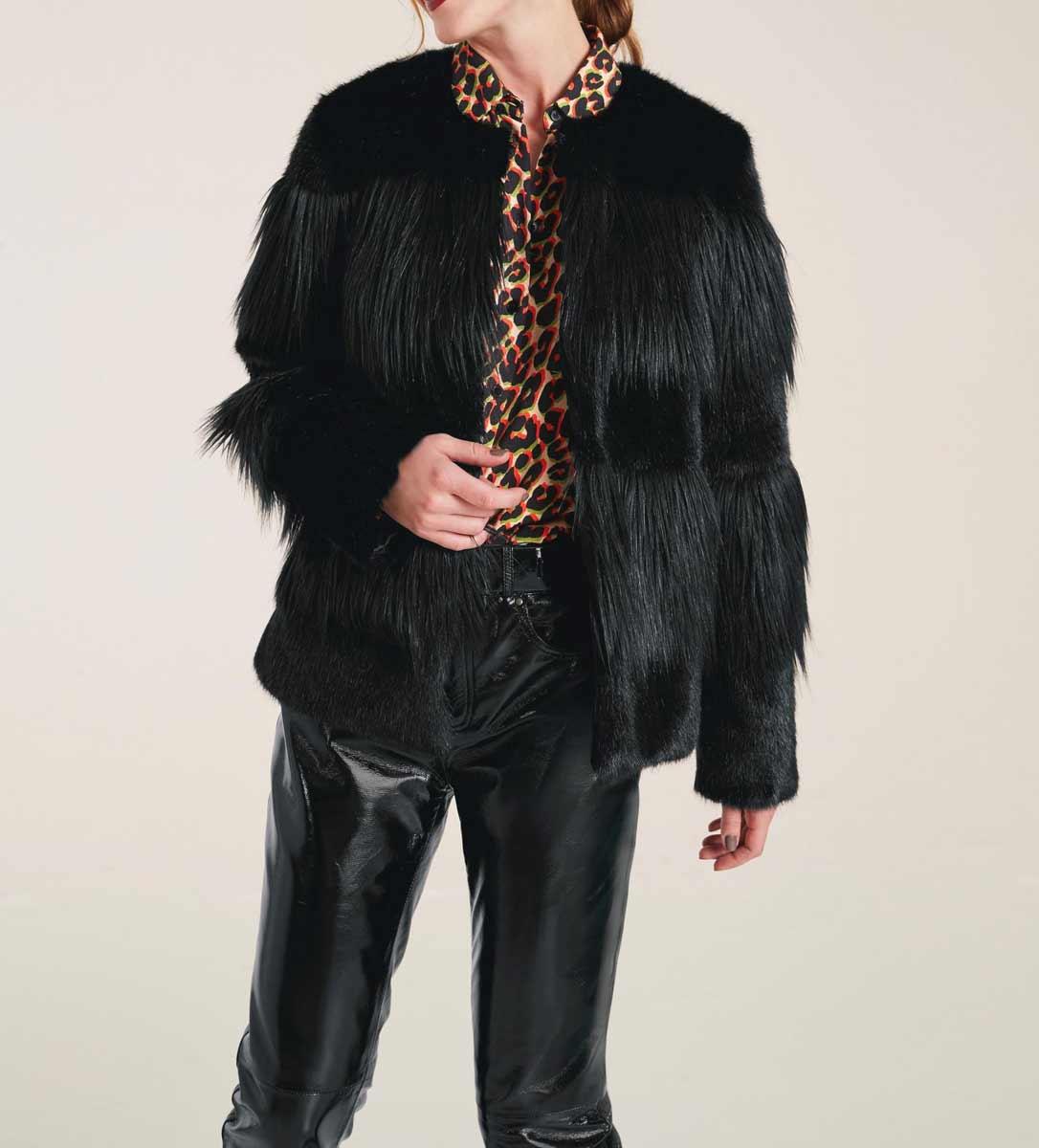 Rick Cardona Damen Jacke Webpelzjacke schwarz #missforty#