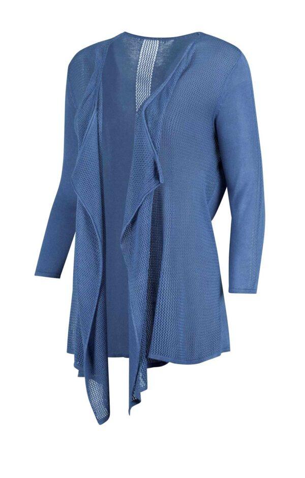 802.012 Création L Damen Strickjacke 3/4 Ärmel Fly away Kragen, blau