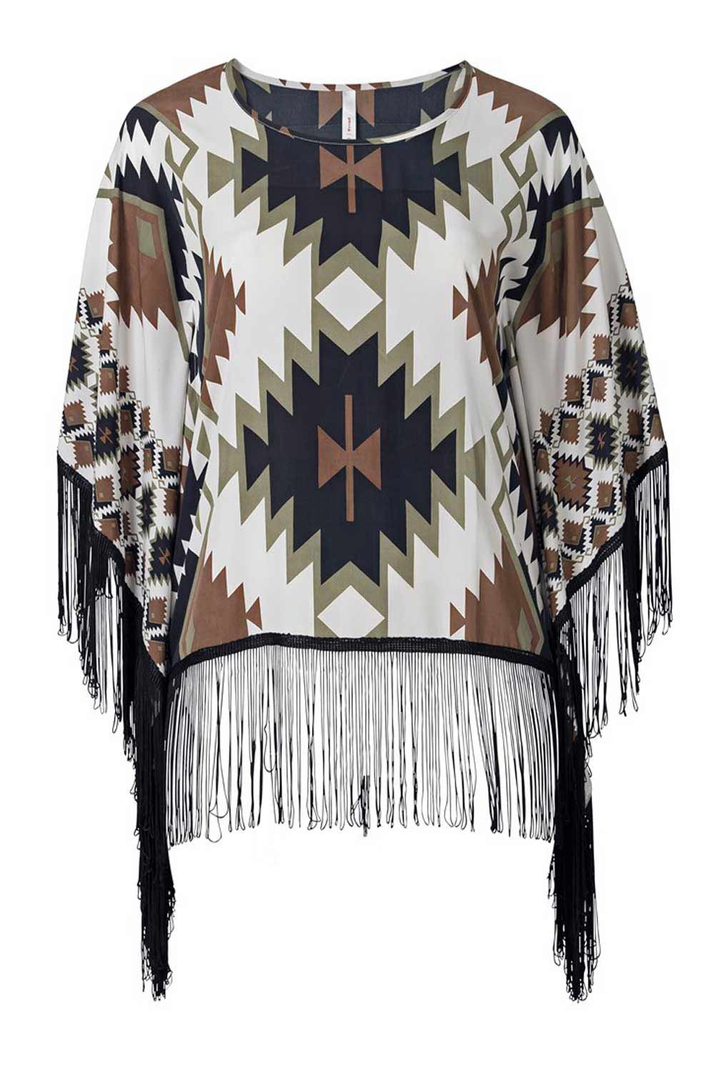 Sheego Poncho Bluse offwhite-bunt 865.763 Missforty