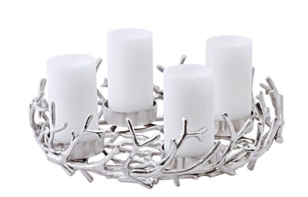 0136 Adventskranz Kerzenhalter Geweih modern silber Porus Hirschgeweih Aluminium