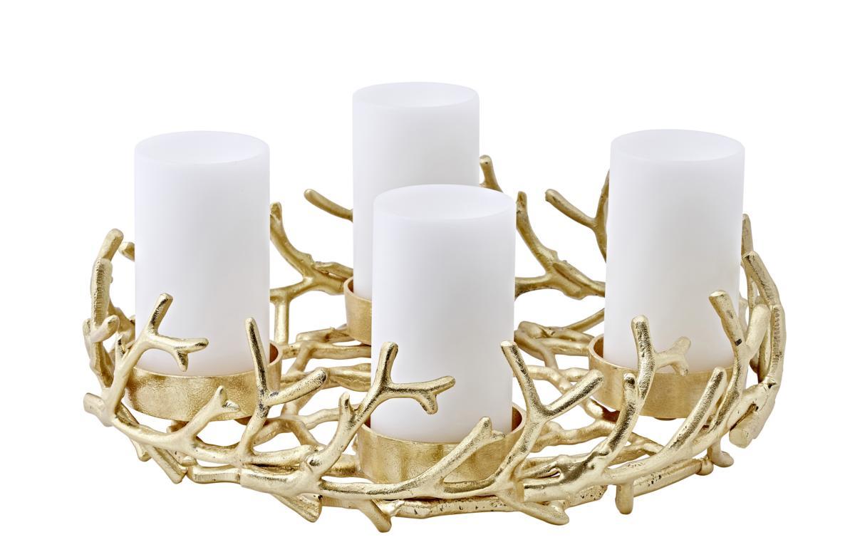 0137 Adventskranz Kerzenhalter Geweih modern Gold Porus Hirschgeweih Aluminium