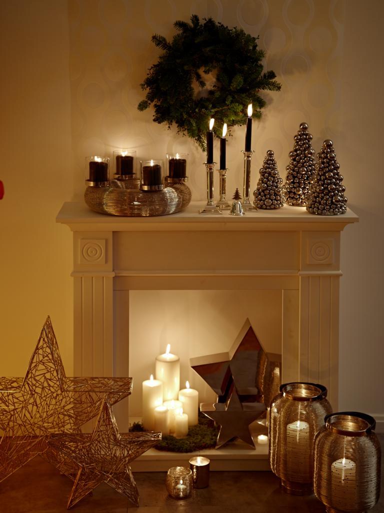 0144 Adventskranz Kerzenhalter Silber modern Verona Edelstahl für Stumpenkerzen