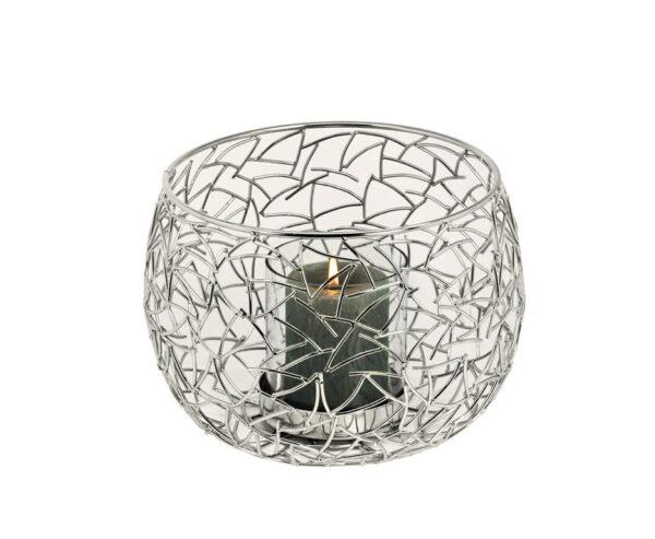 0200 Windlicht Glas Kerzenhalter Silber Milano Edelstahl glänzend vernickelt