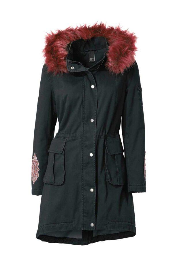 HEINE Damen Winter Jacke Parka mit Fell Kapuze Webpelz Futter, schwarz #missforty#