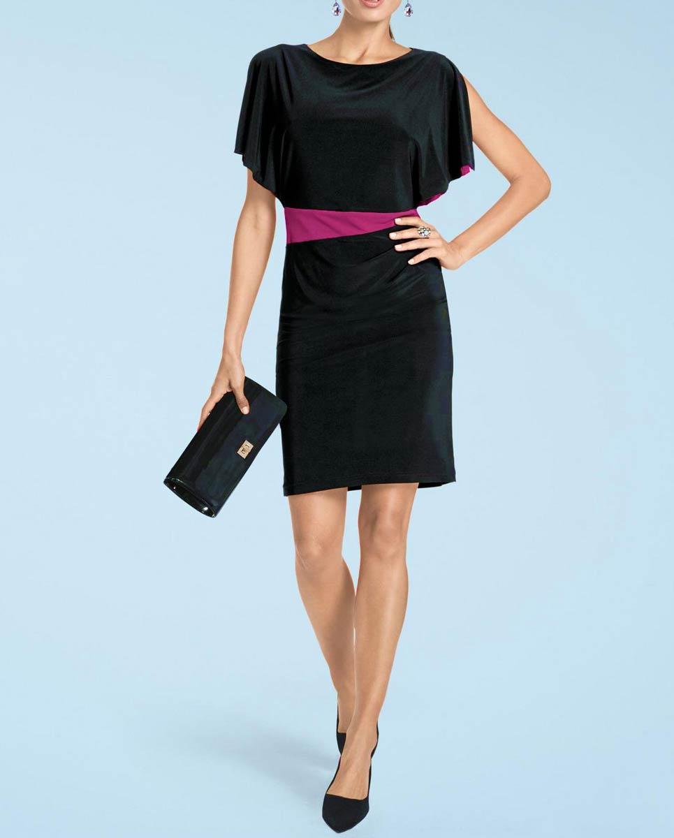 Etuikleid EtuikleiderschöneKleider Damenknielang schwarz-fuchsia von Heine Missforty