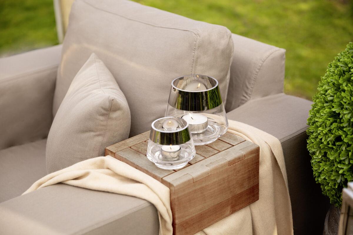 000000012464 Teelichthalter Glas Silber Windlicht für 1 Teelicht JONA von Fink