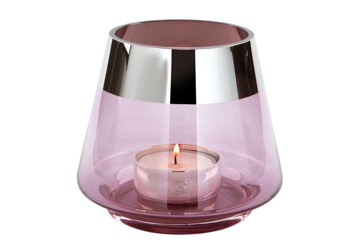 000000012466 Teelichthalter Glas rosa Silber Windlicht für 1 Teelicht JONA von Fink Living
