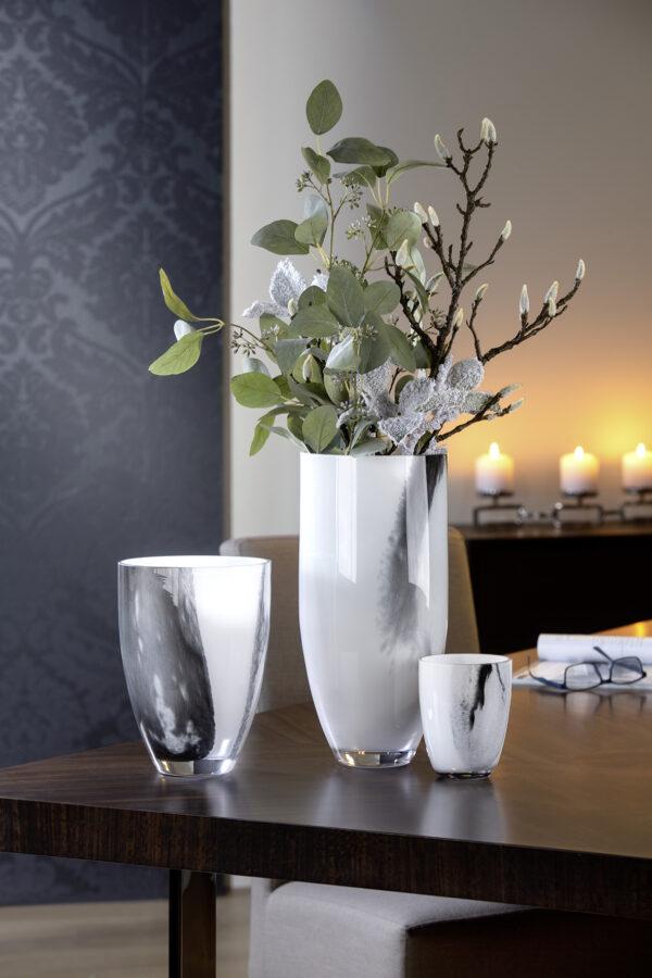 000000012437 Vase Glas Glasvase groß Tischdeko Blumenvase schwarz weiß VARENNA