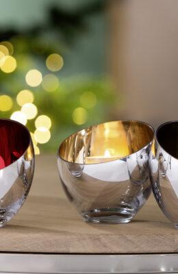 000000012548 Teelichthalter aus Glas Deko Kerzenhalter Teelicht Silber modern CANDY Fink