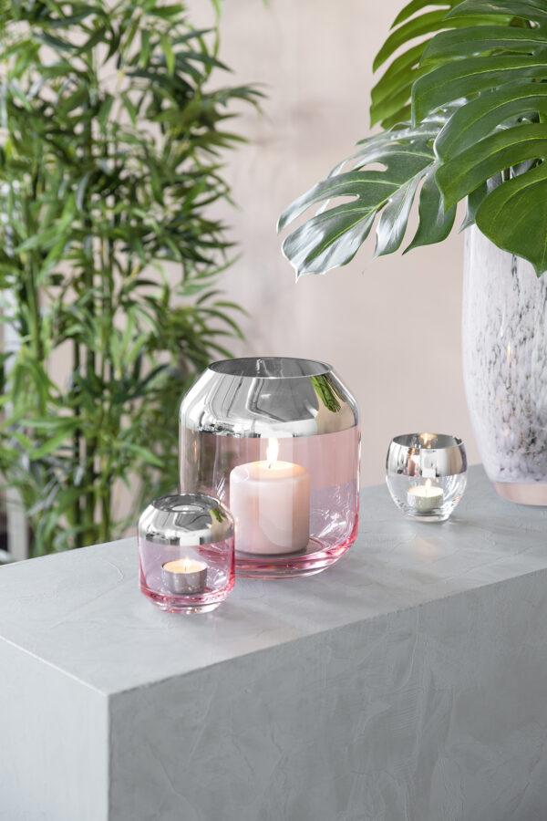000000012509 Teelichthalter aus Glas Deko Kerzenständer rosa grün Windlicht Vase SMILLA Fink