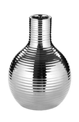 000000012438 Vase Porzellan Silber Tischdeko Blumenvase MALA Streifen Höhe16 cm 12 cm