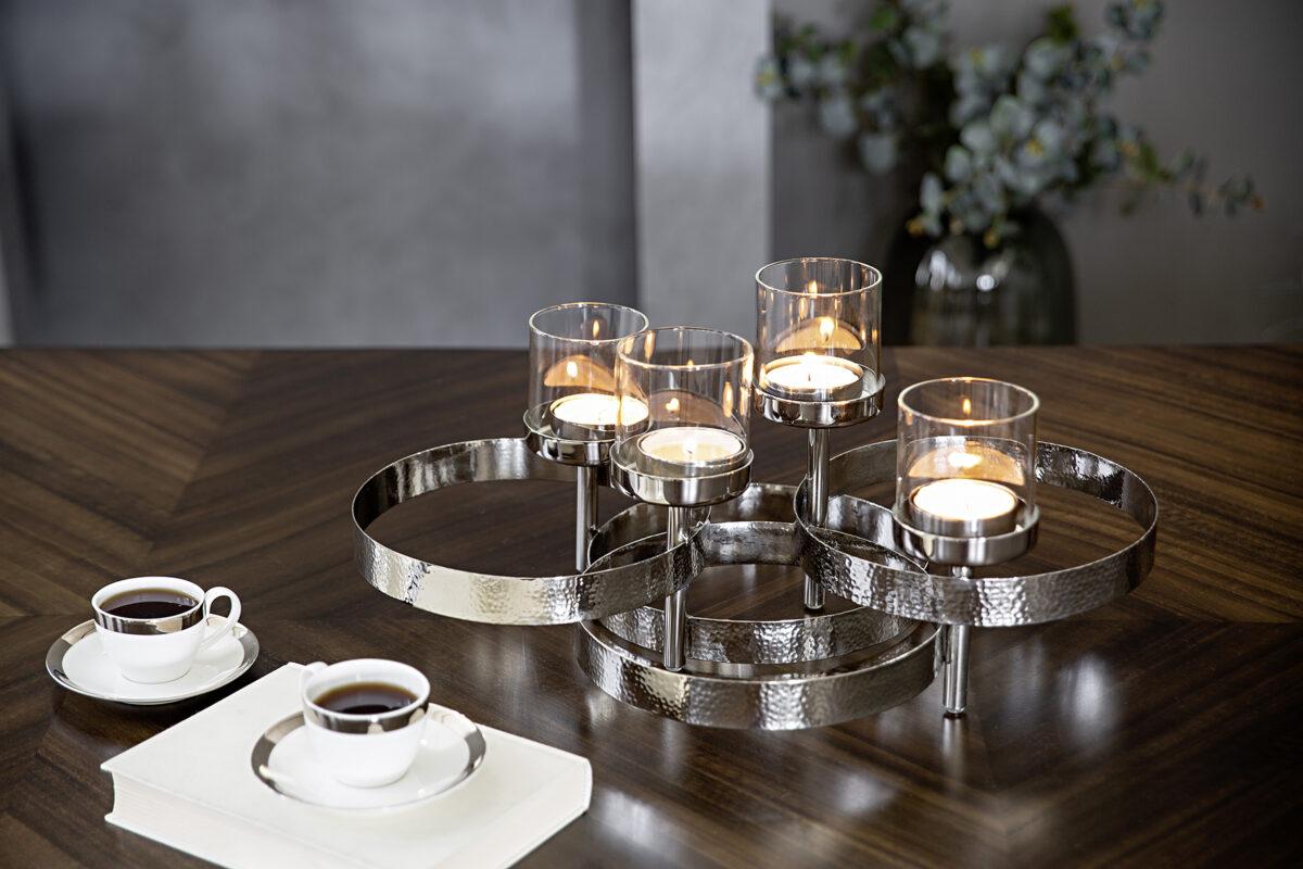 143020 Adventskranz Krank Dekokranz silber 4 Stumpenkerzen Teelichter von Fink MIRAGE