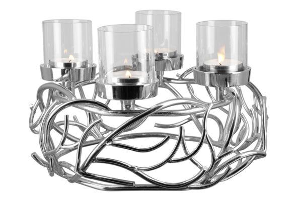 000000012441 Adventskranz Kranz Kerzenhalter silber Edelstahl mit Glaszylinder von Fink RAMUS
