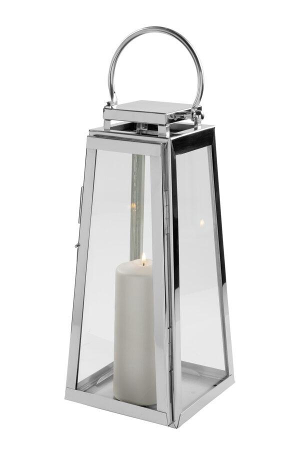 147036 Fink Laterne MONACO Windlicht Glas silber Laterne aus Edelstahl Höhe 43 cm