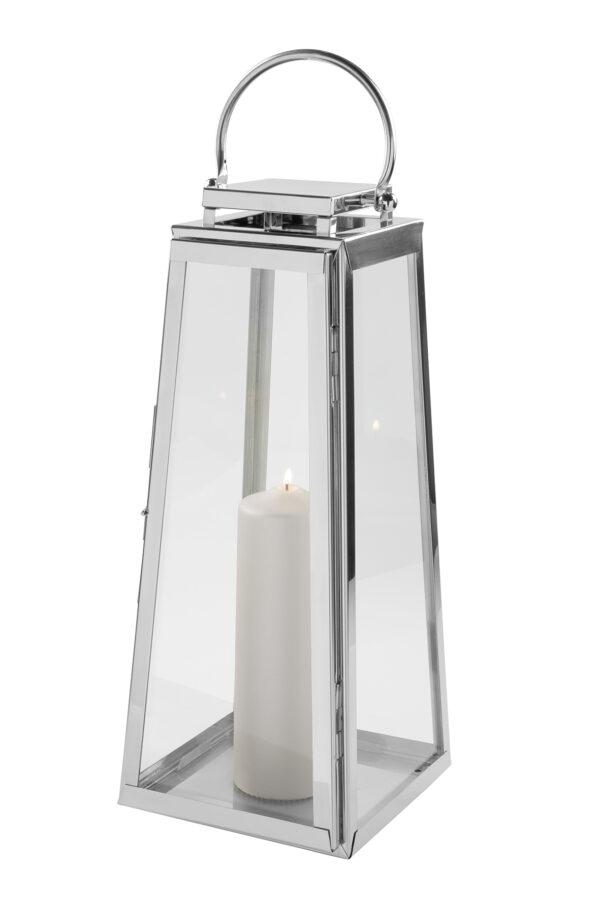147037 Fink Laterne MONACO Windlicht Glas silber Laterne aus Edelstahl Höhe 52cm