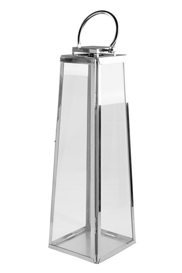147038 Fink Laterne MONACO Windlicht Glas silber Laterne aus Edelstahl Höhe 80 cm