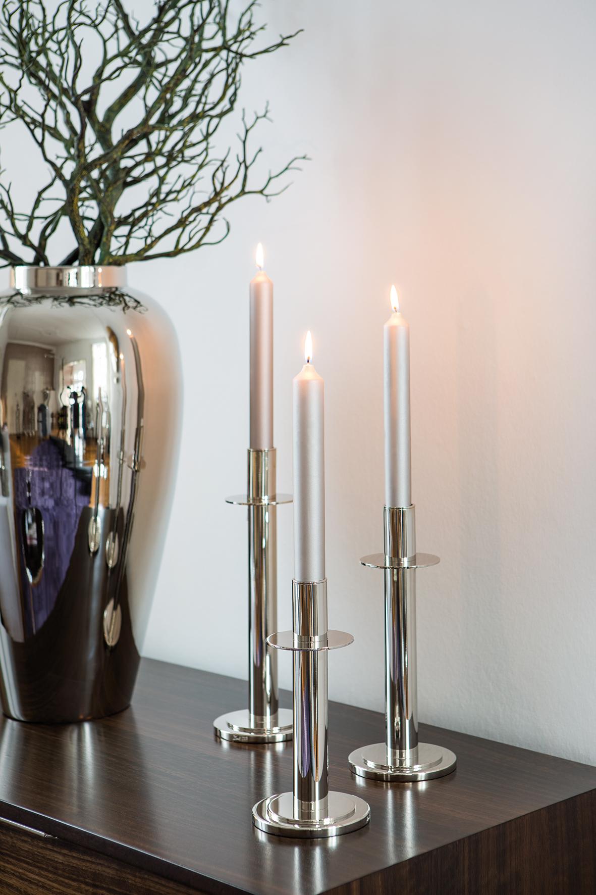000000012450 Kerzenhalter silber Kerzenleuchter Kerzenständer RETO Leuchter von Fink