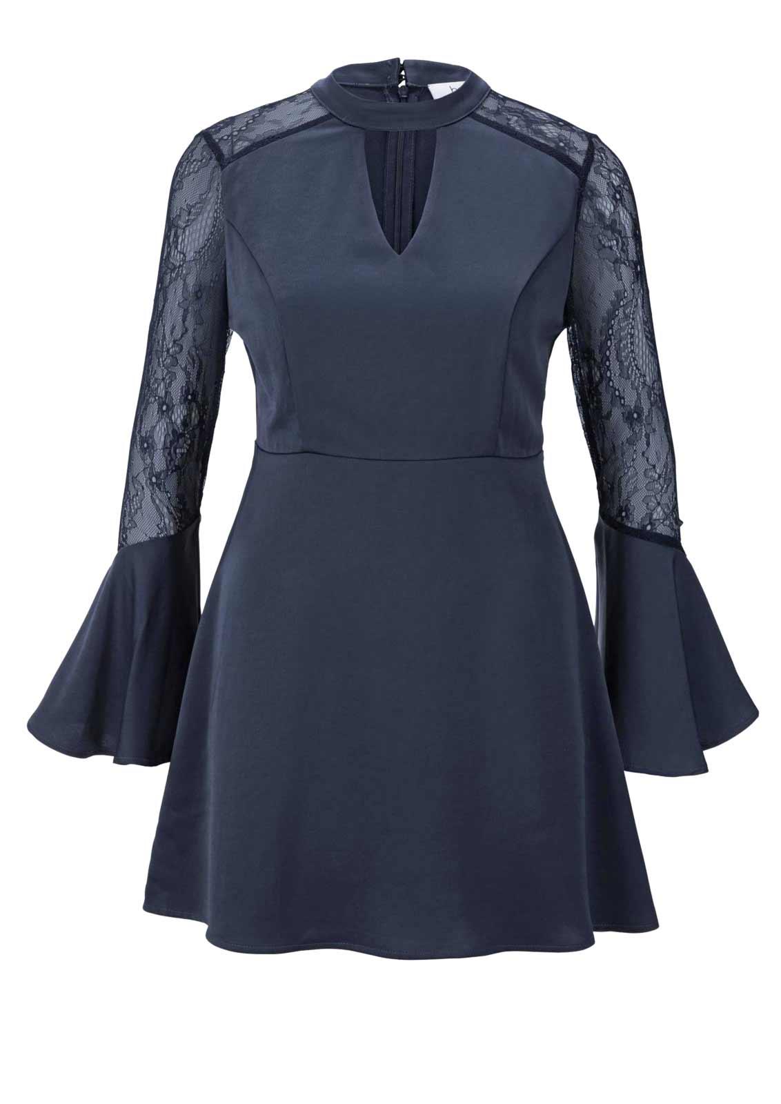 Ausgefallene Bluse Damen elegant dunkel blau mit Stehkragen Langarm HEINE Missforty