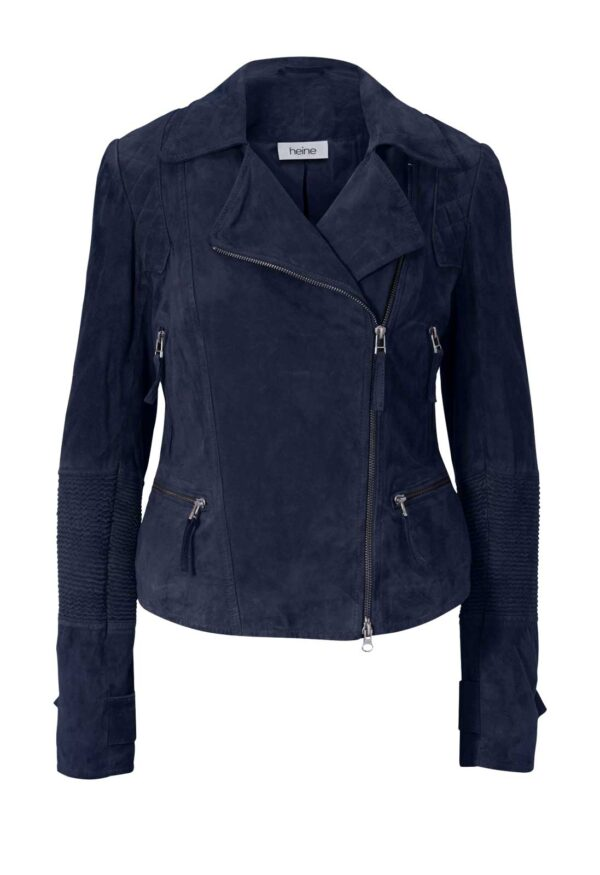 441.540 Echt Lederjacke Damen günstig Biker Lederjacke Damen Vintage Style blau Heine