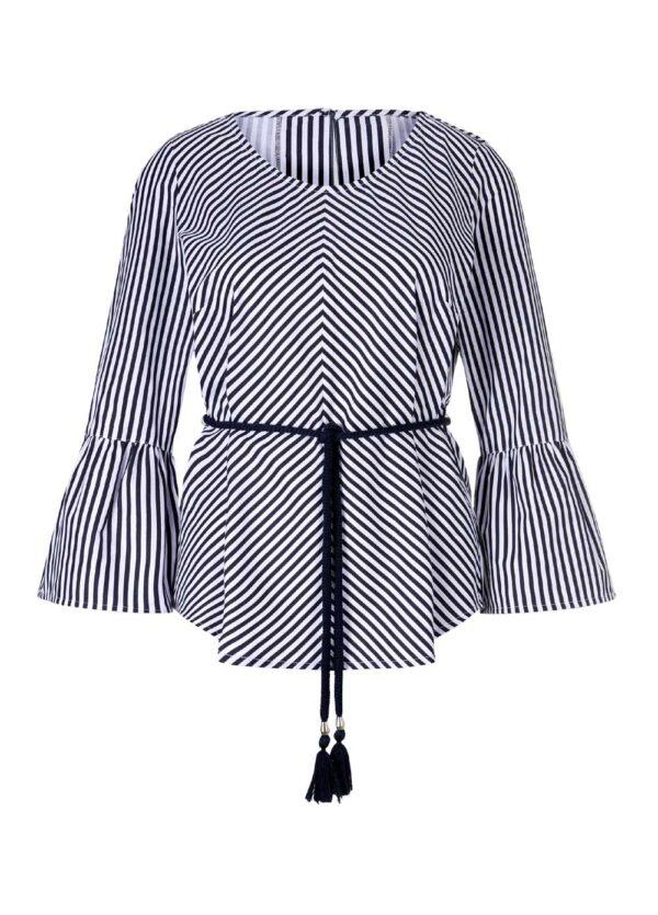 790.564 Festliche Bluse mit Volants Damenbluse Business blau weiß Création L